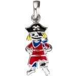 Kinder Anhänger Pirat 925 Silber mit Lackeinlage rot schwarz Kinderanhänger