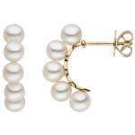 Halbcreolen 585 Gold Gelbgold 10 Süßwasser Perlen weiß Ohrringe Perlenohrringe