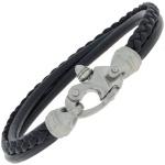 Armband 3-reihig Leder schwarz und Edelstahl matt 19 cm