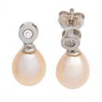 Ohrhänger 925 Silber 2 Süßwasser Perlen rosé 2 Zirkonia Ohrringe Ohrstecker