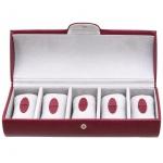 Davidt's Uhrenkoffer Uhrenkasten Uhrenbox rot für 5 Uhren