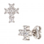 Ohrstecker Kreuz 925 Sterling Silber rhodiniert mit 12 Zirkonia Ohrringe