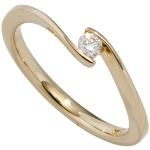 Damen Ring 585 Gold Gelbgold 1 Diamant Brillant 0, 10ct. Diamantring Goldring