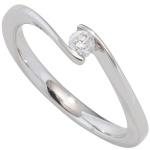 Damen Ring 585 Gold Weißgold 1 Diamant Brillant 0, 15ct. Diamantring Goldring