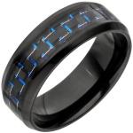 Herren Ring Edelstahl schwarz beschichtet mit Carbon Einlage blau