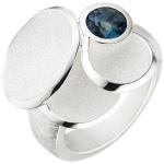 Damen Ring 925 Sterling Silber matt eismatt 1 Blautopas blau