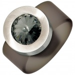 Damen Ring PVC mit Edelstahl kombiniert 1 SWAROVSKI® ELEMENT grau