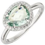 Damen Ring 925 Sterling Silber 1 Glasstein hellblau blau 29 Zirkonia Silberring