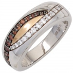 Damen Ring 925 Sterling Silber bicolor 13 Zirkonia champagner Silberring