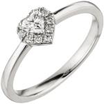 Damen Ring Herz 585 Gold Weißgold 10 Diamanten Brillanten 0, 26ct. Herzring