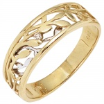 Damen Ring 585 Gold Gelbgold Weißgold bicolor 1 Diamant Brillant 0, 02ct.