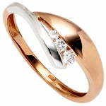 Damen Ring 375 Gold Rotgold Weißgold bicolor 3 Zirkonia Goldring