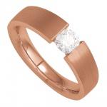 Damen Ring 585 Gold Rotgold mattiert 1 Diamant Brillant 0, 20ct. Goldring