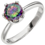 Damen Ring 925 Sterling Silber 1 Zirkonia multicolor Silberring