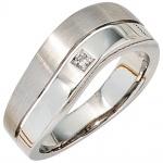 Damen Ring 585 Gold Weißgold 1 Diamant 0, 01ct. Weißgoldring Diamantring