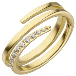 Damen Ring 925 Sterling Silber vergoldet 11 Zirkonia Spiralring Spirale