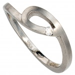Damen Ring 950 Platin matt 1 Diamant Brillant 0, 04ct. Platinring
