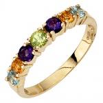 Damen Ring 333 Gold Gelbgold 2 Amethyste 2 Citrine 1 Peridot 2 Blautopase
