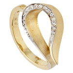 Damen Ring 585 Gold Gelbgold bicolor teilmatt 16 Diamanten Brillanten Goldring