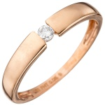 Damen Ring 585 Gold Rotgold 1 Diamant Brillant 0, 08ct. Rotgoldring Diamantring