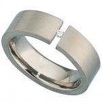 Damen Ring Titan mattiert 1 Diamant Brillant 0, 03ct.
