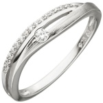 Damen Ring 925 Sterling Silber teil matt 16 Zirkonia Silberring