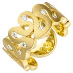 Damen Ring breit 585 Gold Gelbgold matt 10 Diamanten Brillanten Goldring