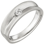 Damen Ring 950 Platin matt 1 Diamant Brillant 0, 13ct. Platinring