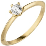 Damen Ring 585 Gold Gelbgold 1 Diamant Brillant 0, 15 ct. Diamantring Solitär