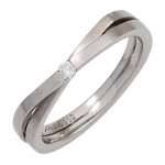Damen Ring 950 Platin matt 1 Diamant Brillant 0, 05ct. Platinring