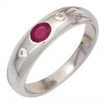 Damen Ring 925 Sterling Silber rhodiniert 1 Rubin rot 2 Zirkonia Silberring