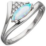 Damen Ring 925 Sterling Silber 1 Opal mit Zirkonia Silberring Opalring