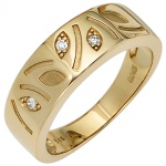 Damen Ring 585 Gold Gelbgold 3 Diamanten Brillanten 0, 04ct. Goldring Diamantring
