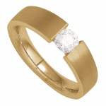 Damen Ring 585 Gold Gelbgold mattiert 1 Diamant Brillant 0, 15ct. Goldring
