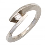 Damen Ring 950 Platin matt 1 Diamant Brillant 0, 15ct. Platinring