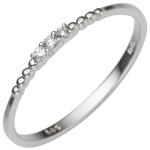 Damen Ring schmal 585 Gold Weißgold 3 Diamanten Brillanten 0, 05ct. Weißgoldring