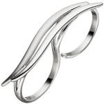 Damen Ring Zweifingerring 925 Sterling Silber matt mattiert Silberring 2 Finger