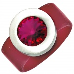 Damen Ring PVC mit Edelstahl kombiniert 1 SWAROVSKI® ELEMENT fuchsia