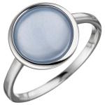 Damen Ring 925 Sterling Silber 1 Calzedon hellblau blau Silberring