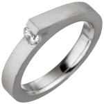 Damen Ring 925 Sterling Silber mattiert matt 1 Zirkonia Silberring