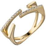 Damen Ring offen 585 Gold Gelbgold 19 Diamanten Brillanten 0, 15ct. Goldring