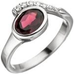 Damen Ring 925 Sterling Silber 1 Granat rot mit Zirkonia Silberring Granatring