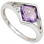 Damen Ring 585 Gold Weißgold 3 Diamanten Brillanten 1 Amethyst lila violett
