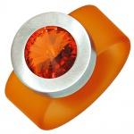 Damen Ring PVC mit Edelstahl kombiniert 1 SWAROVSKI® ELEMENT orange