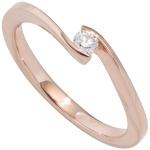 Damen Ring 585 Gold Rotgold 1 Diamant Brillant 0, 15ct. Diamantring Goldring