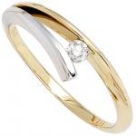 Damen Ring 585 Gold Gelbgold Weißgold bicolor 1 Diamant Brillant 0, 10ct.