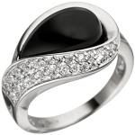 Damen Ring 925 Sterling Silber mit Zirkonia 1 Onyx schwarz Silberring Onyxring