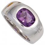 Damen Ring 925 Sterling Silber rhodiniert 1 Amethyst lila violett Silberring