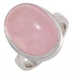 Damen Ring 925 Sterling Silber rhodiniert 1 Rosenquarz Cabochon rosa Silberring