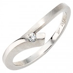Damen Ring 950 Platin mattiert 1 Diamant Brillant 0, 03ct. Platinring